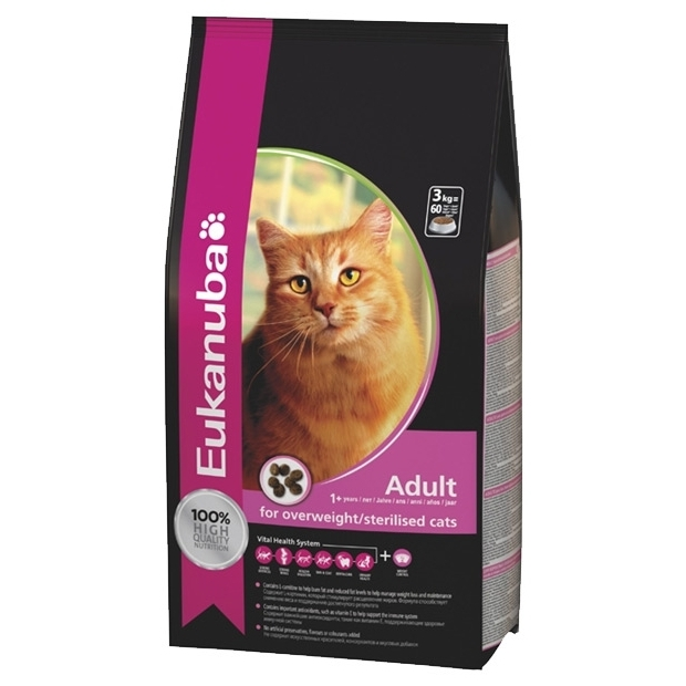 Eukanuba Adult Dry Cat Food for Overweight / Sterilised Cats (10 кг)