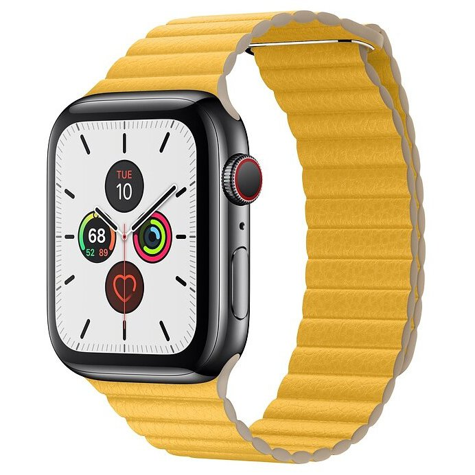 Часы Apple Watch Series 5 GPS + Cellular 44mm Stainless Steel Case with Leather Loop